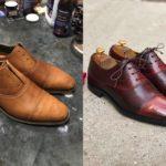 Покраска ботинок до и после